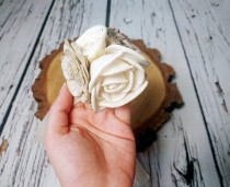wedding photo - Cream rustic wedding Rustic WRIST CORSAGE bridesmaids boutonniere, Sola Flower, Wedding Flowers custom