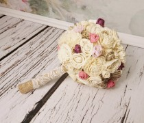 wedding photo - SMALL cream brown rustic wedding BOUQUET Ivory and brown Flowers, sola roses, Burlap Handle, bridesmaid custom