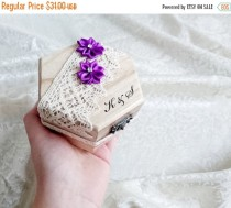 wedding photo - Wedding rings box, wedding pillow rustic cotton lace satin flowers shabby chic brown cream lace sola flower rings box customised