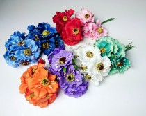 wedding photo - Artificial stemmed flowers 6pcs Wedding cherry flower white blue red orange mint purple diy bouquet floristic supply flower crown wreath