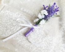 wedding photo - Violet Lavender white Matthiola flowers Boutonniere Groom and groomsmen boutonniere, Wedding Flowers custom corsage