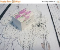 wedding photo - Decoupage romantic white lavender engagement / Wedding ring box, pillow woodland provance natural shabby chic proposal