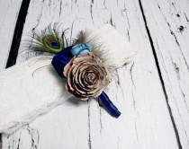 wedding photo - BOUTONNIERE / CORSAGE cedar rose dark blue turquoise sola flowers rustic wedding real PEACOCK feathers