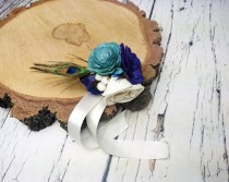 wedding photo - Peacock wedding ivory dark blue turqoise rustic Rustic WRIST CORSAGE bridesmaids mothers boutonniere, Sola Flower, Wedding Flowers custom