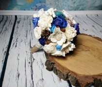 wedding photo - Blue turquoise winter bridal Bridesmaid cream brown rustic wedding BOUQUET Burlap Handle cotton lace pine cones cedar rose medium woodland