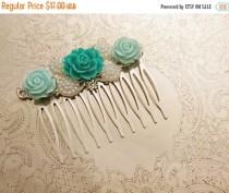 wedding photo - Handmade wedding hair comb clip resin flowers roses vintage mint pearl wedding prom accessory hair piece bride