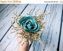wedding photo - Flower girl wand turqoise teal rustic wedding Flower dried limonium burlap Bridesmaids sola roses vintage custom woodland