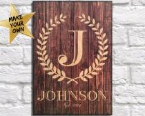 wedding photo - Husband gift Personalised Dad gift wood art Monogram Wooden wreath Rustic Wedding gift 5th Anniversary gift for Men Panel effect Wood print