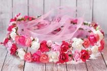 wedding photo - Floral crown hair wreath, Cotton candy flower crown, Pink Floral Crown, Wedding headpiece, Flowers headband, Hair piece accessories, Halo