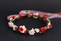 wedding photo - Red & White Flower Crown - Floral crown - Flower girl halo - Wedding hair wreath - Fall Flower crown - Photo prop - Hair accessories - Halo
