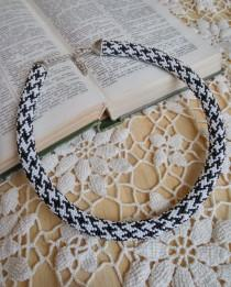 wedding photo - Haute couture chanel style necklace classic print black white trending statement beadwork crochet rope fashion jewelry beaded unusual casual