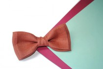 wedding photo - Terracota bow tie Linen bow tie Pocket square for groom Groomsmen ties Wedding gift for couple Suited pocket square Toddler's bow tie Boys