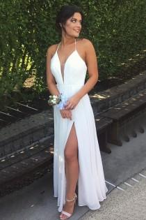 wedding photo - A-line Halter Floor Length Split White Backless Prom Dress with Pleats