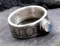 wedding photo - Moon Phase Ring with Moonstone - Unique Handmade Etched Sterling Silver Moon Ring - Rustic Old World Style Moon Phase Ring - Hand Crafted