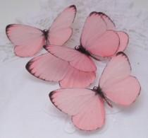 wedding photo - Hand Cut silk butterfly hair clips - Rosy Pinks Trio