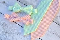 wedding photo - Groomsmen bow tie, boys mint necktie, peach tie, ring bearer outfit, wedding bow ties, mint bow tie, peach bow tie, boys wedding outfit