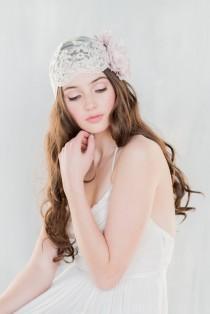 wedding photo - Lace Juliet Veil, Lavender Lace Cap, Lace Headpiece, Wedding Veil, Blush Wedding Veil, Floral Lace Veil, Ivory Veil, Vintage Veil, COLETTE