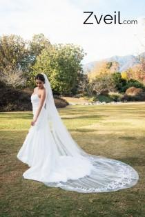 wedding photo - Cathedral Length Lace Wedding Veil