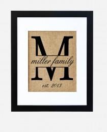 wedding photo - Traditional Family Monogram, Burlap Monogram, Weddings, Anniversaries, Birthdays, Bride and Groom, FRAME INCLUDED