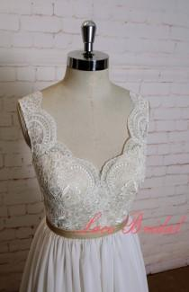 wedding photo - Gorgeous Lace Wedding Dress with Champagne Underlay Sexy V Back Bridal Gown with Plain Chiffon Skirt