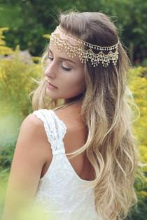 wedding photo - Bridal headpiece, Bohemian head chain, forehead Indian headchain, boho wedding, boho headpiece, gold hair accessories, wedding jewelry
