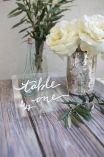 "wedding photo - Acrylic plexiglass table numbers or names. Size 4 x 6"". Clear or metallic. Custom designed for your unique wedding style. Any font or style"