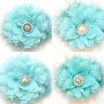 wedding photo - Spring Blue, Aqua Blue, Mint Blue Chiffon Mesh Hair Flower Clip, Flower Girl Hair Bow, Easter Hair Bow, Bridal Hair Flower Clip, Dance