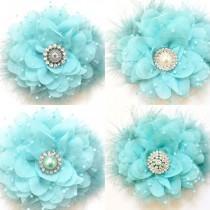 wedding photo - Spring Blue, Aqua Blue, Mint Blue Chiffon Mesh Hair Flower Clip, Flower Girl Hair Bow, Easter Hair Bow, Bridal Hair Flower Clip, Dance
