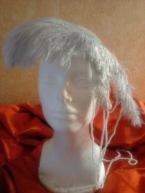 wedding photo - Gorgeous Vintage Inspired Silver Gray Lace Feather Pearl Headpiece Hat Victorian Gatsby Burlesque Bridal Costume Wedding Party Theatrical