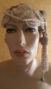 wedding photo - Vintage Inspired Ivory Silver Beaded Applique Sequin Pearl Waterfall Fringe Headpiece Headband Tiara Gatsby Victorian Costume Bridal Wedding