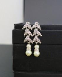 wedding photo - Art Deco Bridal Earrings, Crystal Wedding Earrings, Pearl Bridal Statement Earrings Bridal Wedding Jewelry Vintage Old Hollywood Classic ADA
