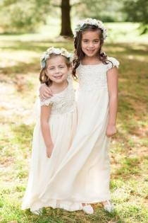 wedding photo - Crochet Flower Girl Dress, Lace Flower Girl Dress, Flower Girl Dresses, Lace Top Flower Girl Dress, Wedding Dress HandMade in USA