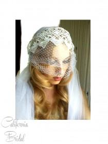 wedding photo - Venise Lace birdcage Juliet Cap Veil -- Vintage Inspired 1 Tier 1t veil wedding Bridal length veil 1930's 1920's gatsby wedding