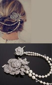 wedding photo - Vintage Style Hair Draping Pearls And Rhinestone Flower Features, Anita. Featured In Elle UK