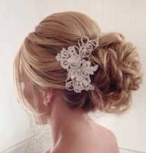 wedding photo - Low Updo Wedding Hairstyle With Accessory