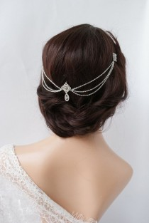 wedding photo - 1920s Wedding Headpiece With Swags - Vintage Bridal Headpiece - Hair Chain Style Accessory - 1920s Wedding Dress