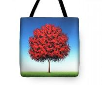 wedding photo - Red Tree Tote Bag, Whimsical Tree Handbag, Colorful Tree Art Bag, Reusable Shopping Bag, Large Canvas Tote, Tree Purse, Bright Book Bag