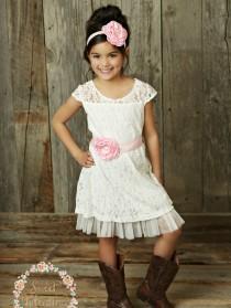 wedding photo - Flower girl dress, rustic flower girl dress, country flower girl, Off White lace dress, easter dress, shabby chic flower girl, Baby dress