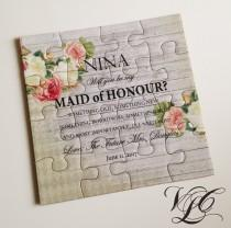wedding photo - Will you be my Maid of Honour puzzle, Rustic Bridesmaid invitation, Ask Maid of Honor puzzle, Ask Flowergirl, Flower Girl puzzle card