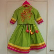 wedding photo - Long sleeve colorful indian lehenga flower girl dress, embroidery, handmade tassels, gold & bright color accents, indian wedding, festival