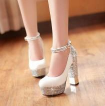 wedding photo - High-heeled Shoes Sparkle Bling Wedding Shoes For Women With High Platform And Ankle Strap