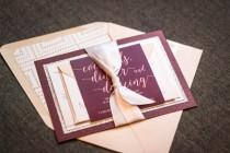 "wedding photo - Modern Wedding Invitations, Glitter Wedding Invitation, Eggplant, Blush & Silver - ""Whimsical Calligraphy"" Flat Panel, 2 Layers, v1 - SAMPLE"