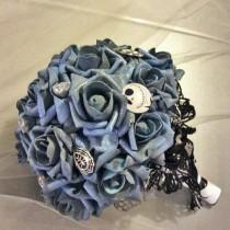 wedding photo - Jack Skellington Wedding Bouquet,Nightmare Before Christmas-Tim Burton-Black&Blue-Halloween Bouquet-Halloween Wedding-Custom Made to Order