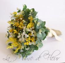 wedding photo - Sunshine - Wedding bouquet. Garden posy of Australian native wattle, mini daisies and gum foliage. Pretty yellow and white bouquet.