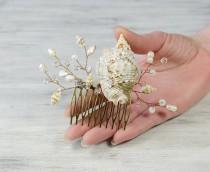 wedding photo - Seashell Hair Accessories,Seashell Hair comb Beach wedding Hair Headpiece Mermaid Hair Comb Bridal Hair Barrette  Bridesmaid crystal  Comb