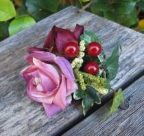wedding photo - Burgundy and dusty pink  Roses Hair Flower cluster -  Hair clip -WEDDINGS-