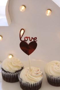 wedding photo - Valentines Day Cupcake Toppers- Love Heart - Sweetheart- Red Foil - Valentine's Day - Proposal Idea - Proposal Idea -Just to Say I Love You