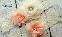 wedding photo - Beautiful PEACH Bridal Garter Set - Ivory Keepsake & Toss Wedding Garter - Chiffon Flower Rhinestone Lace Garters - Vintage Lace Garter