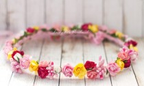 wedding photo - Colorful flower crown, Wedding flower head piece, Multicolor flower hair accessory, Bright flower headband, garden wedding, Pink and yellow
