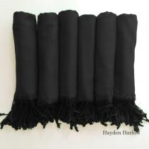 wedding photo - Pashmina shawl in Midnight Black - Bridesmaid Gift, Wedding Favor - Monogrammable